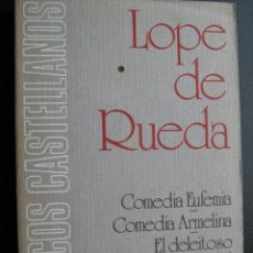 Libros de segunda mano: COMEDIA EUFEMIA/ COMEDIA ARMELINA/ EL DELEITOSO (SIETE PASOS). RUEDA, LOPE DE. 1975. Lote 25884849