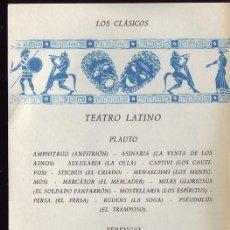 Libros de segunda mano: TEATRO LATINO. PLAUTO. TERENCIO. Lote 29356181