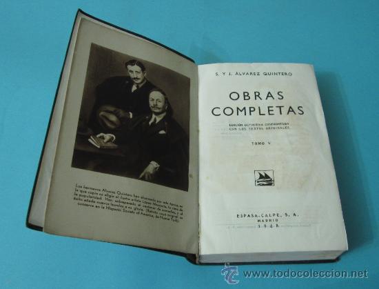 Libros de segunda mano: TOMO V. OBRAS COMPLETAS. S. Y J. ÁLVAREZ QUINTERO. PLENA PIEL. 1948 - Foto 4 - 32924172