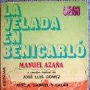 Libros de segunda mano: LA VELADA EN BENICARLO, MANUEL AZAÑA, ESPASA CALPE,INT. J.L.GOMEZ Y GABRIEL Y GALAN. 1981.. Lote 165198480
