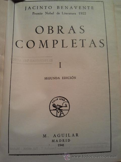 Libros de segunda mano: Jacinto Benavente, Obras Completas. 11 Tomos, 1945-1958. M. Aguilar editor. - Foto 3 - 33765257