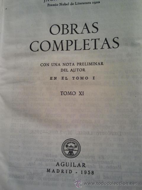 Libros de segunda mano: Jacinto Benavente, Obras Completas. 11 Tomos, 1945-1958. M. Aguilar editor. - Foto 4 - 33765257