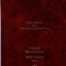 Libros de segunda mano: OBRAS MAESTRAS LITERATURA CONTEMPORÁNEA,FEDERICO GARCÍA LORCA,BODAS DE SANGRE,YERMA,30,SEIX BARRAL. Lote 36042231