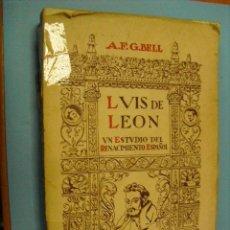 Libros de segunda mano: LUIS DE LEON,UN ESTUDIO DEL RENACIMIENTO ESPAÑOL 1940,. Lote 39457721