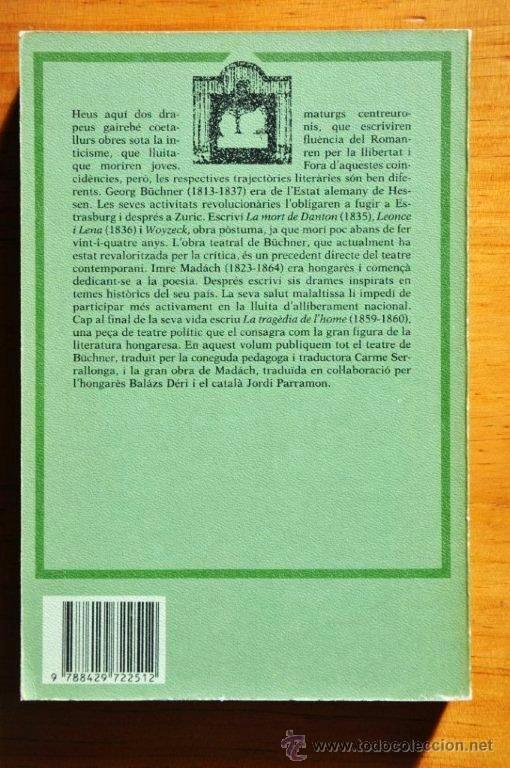 Libros de segunda mano: Georg Büchner, Imre Madách: Teatre, Edicions 62, 1985 - Foto 3 - 41685970