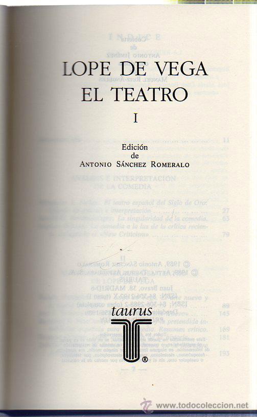 Libros de segunda mano: LOPE DE VEGA: EL TEATRO. 2 TOMOS. EDICIONES TAURUS. MADRID. 1989. - Foto 2 - 42280059