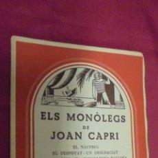 Libros de segunda mano: ELS MONÒLOGS DE CAPRI. CATALUNYA TEATRAL. OBRA 61. MILLÀ. 1959.. Lote 50264329