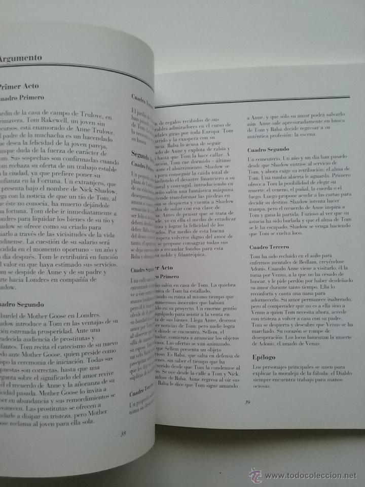 Libros de segunda mano: THE RAKE S PROGRESS ( LA CARRERA DEL LIBERTINO ) - TEATRO - MUSICA IGOR STRAVINSKY LIBRETO - Foto 5 - 53172096