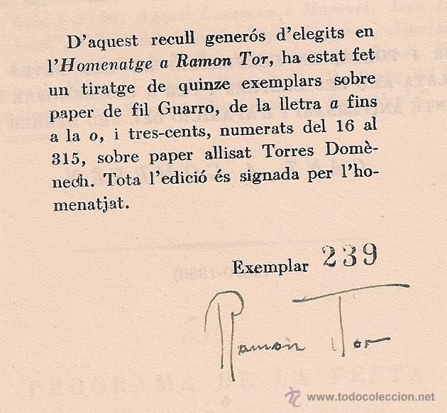 Libros de segunda mano: Gala dhomenatge a Ramon Tor, actor i poeta. BCN, 1950. Ex. 239 signat x R. Tor. 22x16cm. 30p. - Foto 2 - 54573756