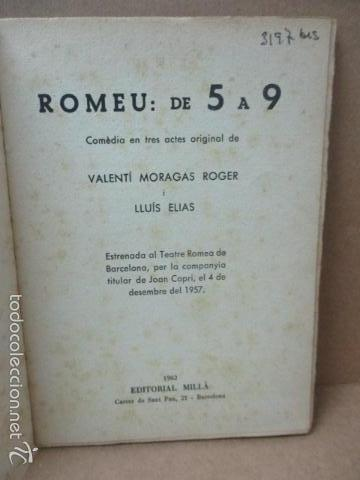 Libros de segunda mano: ROMEU DE 5 A 9, - Valenti Moragas Romer i Lluís Elias - 1957 - Foto 3 - 56325951