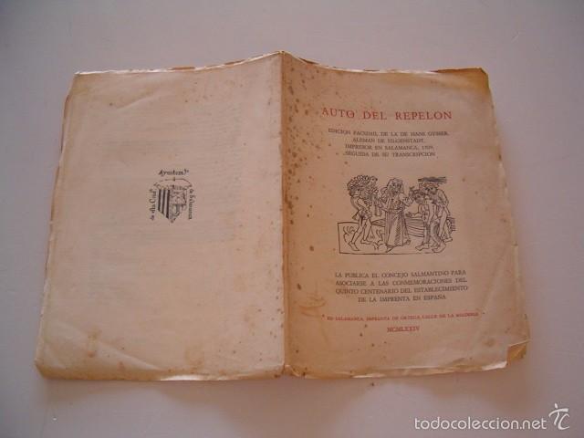 HANS GYSSER. AUTO DEL REPELÓN. EDICIÓN FACSÍMIL. RM74930. (Libros de Segunda Mano (posteriores a 1936) - Literatura - Teatro)