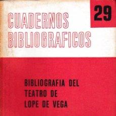 Libros de segunda mano: BIBLIOGRAFÍA DEL TEATRO DE LOPE DE VEGA (Mª C. PÉREZ, 1973) SIN USAR. Lote 295776408