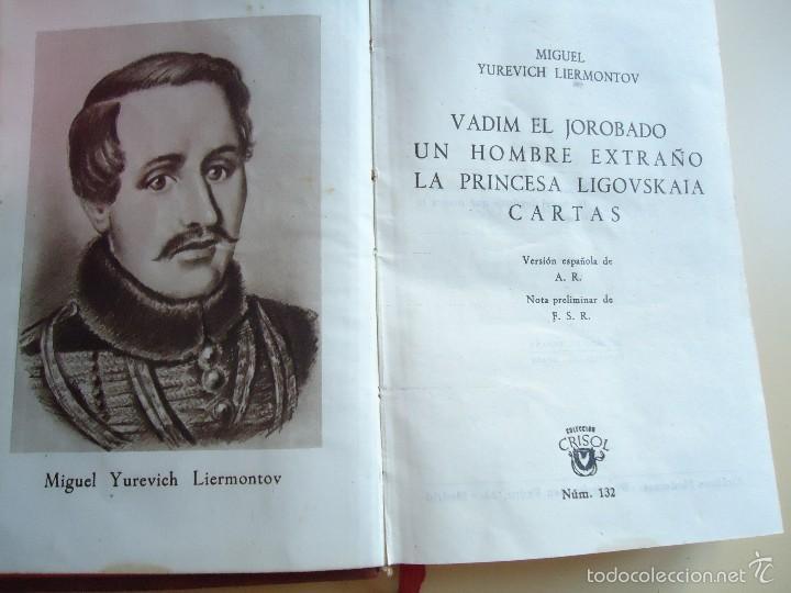 Libros de segunda mano: LIBRO. UNA OBRA DE TEATRO Y 2 NOVELAS DE MIGUEL YUREVICH LIERMONTOV, COLECCIÓN CRISOL,1945.VER. - Foto 2 - 58204761