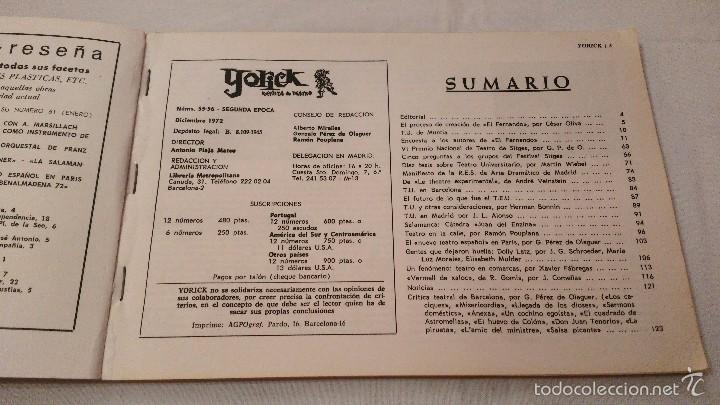 Libros de segunda mano: Teatro y Universidad - Yorick 55-56 - F Sitges - 1972 - Foto 4 - 59761916