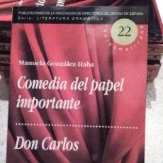 Libros de segunda mano: TEXTOS TEATRALES: COMEDIA DE PAPEL IMPORTANTE Y DON CARLOS DE MANUELA GONZALEZ-HABA. Lote 64896799
