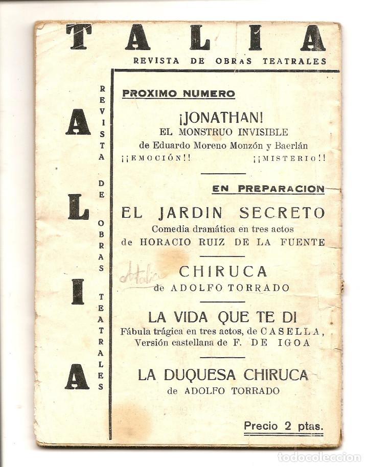 Libros de segunda mano: LA SEÑORITA PIGMALION - ADOLFO TORRADO - COLECCION TALÍA Nº 49 - Foto 3 - 68813429