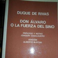 Libros de segunda mano: DON ÁLVARO O LA FUERZA DEL SINO, DUQUE DE RIVAS, ED. LABOR. Lote 113093967