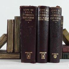 Libros de segunda mano: OBRAS ESCOGIDAS. LOPE DE VEGA. III TOMOS. AGUILAR. 1955-1966.. Lote 113466907