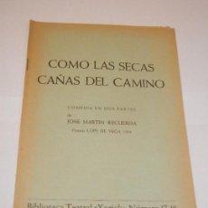 Libros de segunda mano: COMO LAS SECAS CAÑAS DEL CAMINO, DE JOSE MARTIN RECUERDA - BIBLIOTECA TEATRAL YORICK N.17-18 - 1966. Lote 130180731