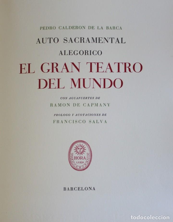 Libros de segunda mano: EL GRAN TEATRO DEL MUNDO. - CALDERÓN DE LA BARCA, Pedro. - Barcelona, 1944. - Foto 2 - 123169598
