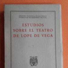 Libros de segunda mano: ESTUDIOS SOBRE EL TEATRO DE LOPE DE VEGA. OBRAS COMPLETAS DE MENENDEZ PELAYO I. CSIC. INTONSO. 1949.. Lote 144555522