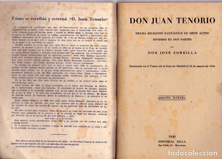 Libros de segunda mano: JOSÉ ZORRILLA *** DON JUAN TENORIO *** BIBLIOTECA TEATRO MUNDIAL *** AÑO 1949 - Foto 2 - 145270214
