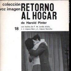 Libros de segunda mano: HAROLD PINTER : RETORNO AL HOGAR (VOZ IMAGEN, 1970). Lote 145366154