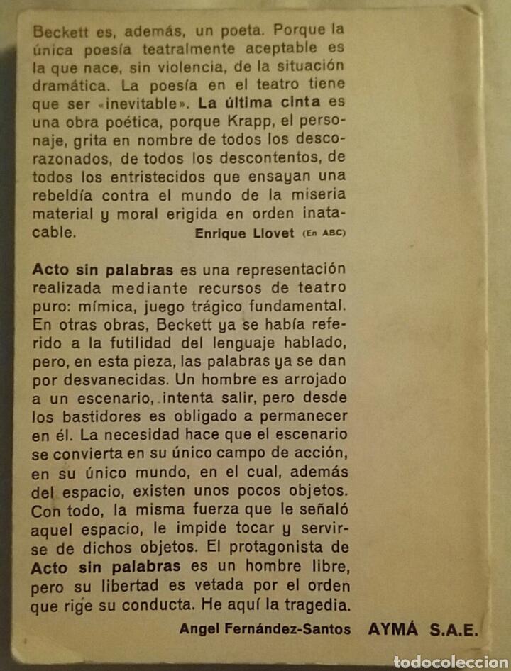 Libros de segunda mano: La última cinta/Acto sin palabras. Samuel Beckett. Colección Voz e Imagen.Primera Edición 1965. - Foto 2 - 153405986
