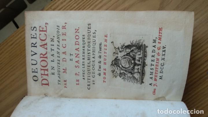 Libros de segunda mano: Antiguo libro de 1735 de Horacio, Impreso en amsterdam, En francés. - Foto 2 - 166535658