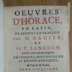 Libros de segunda mano: ANTIGUO LIBRO DE 1735 DE HORACIO, IMPRESO EN AMSTERDAM, EN FRANCÉS.. Lote 166535658