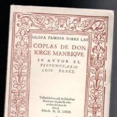 Libros de segunda mano: COPLAS DE DON JORGE MANRIQUE, LUIS PÉREZ. Lote 173541899
