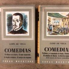Libros de segunda mano: LOPE DE VEGA. COMEDIAS. 2 TOMOS. COLECCIÓN OBRAS MAESTRAS MINISTERIO EDUCACIÓN Y CIENCIA 1967. Lote 175072978