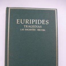 Libros de segunda mano: EURÍPIDES. TRAGEDIAS. LAS BACANTES. HÉCUBA. BILINGÜE ESPAÑOL - GRIEGO CLÁSICO. EDICIONES ALMA MATER. Lote 184240697