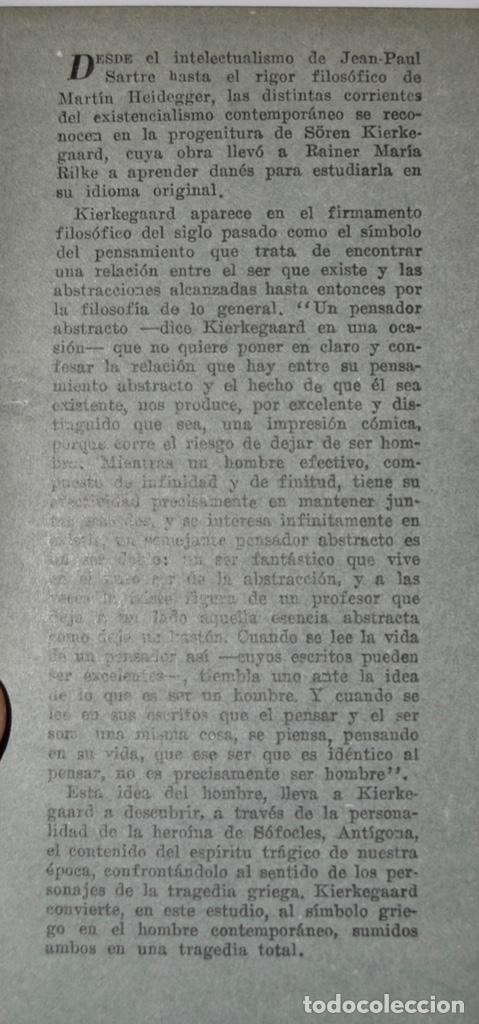 Libros de segunda mano: Sören Kierkegaard. Antigona. El Sentido de la Tragedia.II. Ediciones Losange. Buenos Aires, 1954 - Foto 2 - 185354832