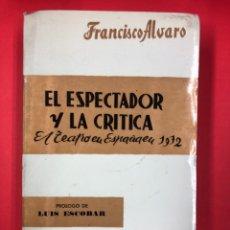 Libros de segunda mano: EL ESPECTADOR Y LA CRITICA, EL TEATRO EN ESPAÑA EN 1972, AÑO XV - F. ALVARO - 1973. Lote 231888890