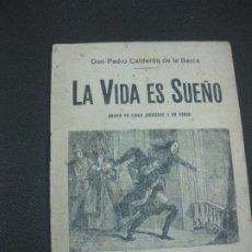 Libros de segunda mano: PEDRO CALDERON DE LA BARCA. LA VIDA ES SUEÑO. LLIBRERIA TEATRAL MILLA 1943.. Lote 191579405