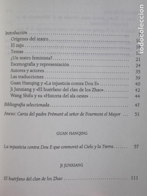 Libros de segunda mano: DRAMAS CHINOS. LA INJUSTICIA CONTRA DOU E, EL HUÉRFANO DEL CLAN DE LOS ZHAO, HISTORIA DEL ALA OESTE. - Foto 7 - 191818027