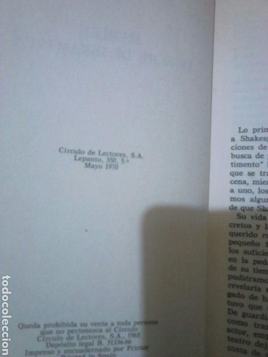 Libros de segunda mano: Libro,William Shakespeare, hamlet,príncipe de Dinamarca, año 1970 - Foto 3 - 194323010