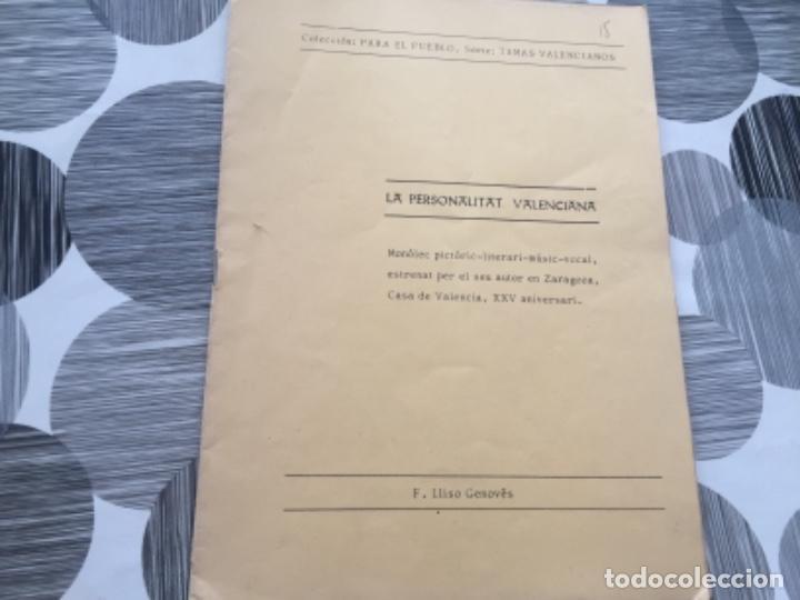 LA PERSONALITAT VALENCIANA. F. LLISO GENOVÉS (Libros de Segunda Mano (posteriores a 1936) - Literatura - Teatro)