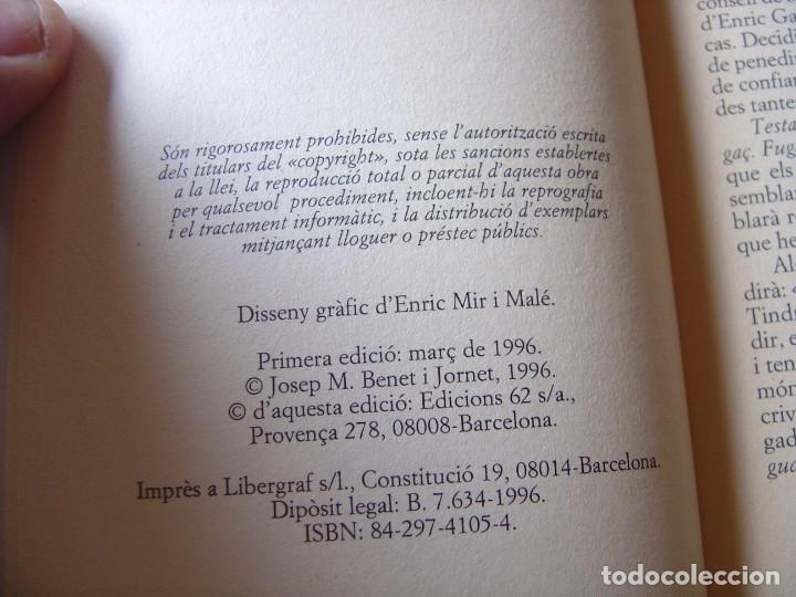 Libros de segunda mano: TESTAMENT. JOSEP M. BENET I JORNET. TEATRE EDICIONS 62. 1ª EDICIÓ 1996 - Foto 3 - 198298905