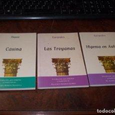 Libros de segunda mano: TRES TEXTOS TEATRO GRECOLATINO. CÁSINA, PLAUTO. LAS TROYANAS, EURÍPIDES. IFIGENIA EN AULIDE, EURÍPID. Lote 198549795