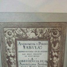 Libros de segunda mano: ANDROMEDA Y PERSEO. FÁBULA ESCÉNICA. ESCENOTECNIA DE BACCIO DEL BIANCO. Lote 203110281