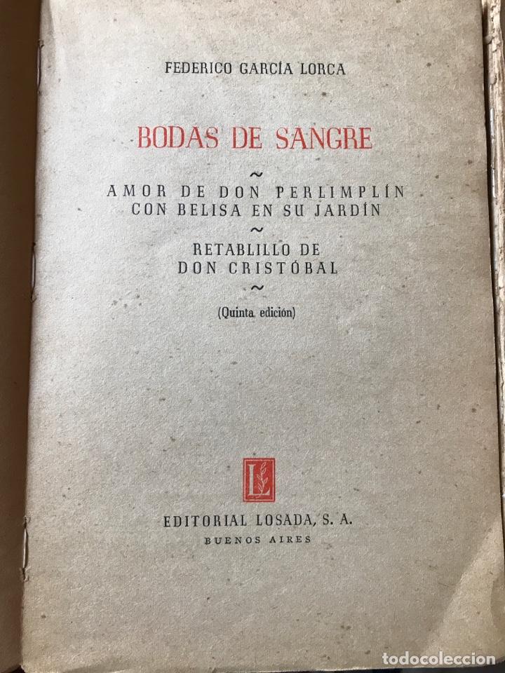 Libros de segunda mano: Dos obras de Federico García Lorca bodas de sangre, yerma y la zapatera prodigiosa - Foto 2 - 205668348