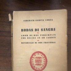 Libros de segunda mano: F. GARCÍA LORCA, BODAS DE SANGRE, EDITORIAL LOSADA.. Lote 212779790