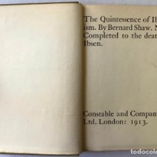 Libros de segunda mano: THE QUINTESSENCE OF IBSENISM. NOW COMPLETED TO THE DEATH OF IBSEN. - SHAW, BERNARD.. Lote 123248183