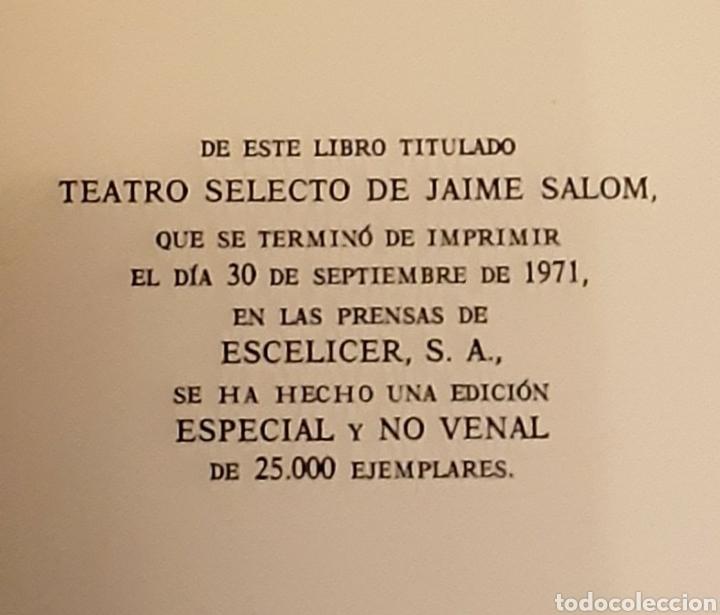 Libros de segunda mano: Teatro selecto, Jaime Salom. Editorial Escelicer, 1971 - Foto 4 - 217050336