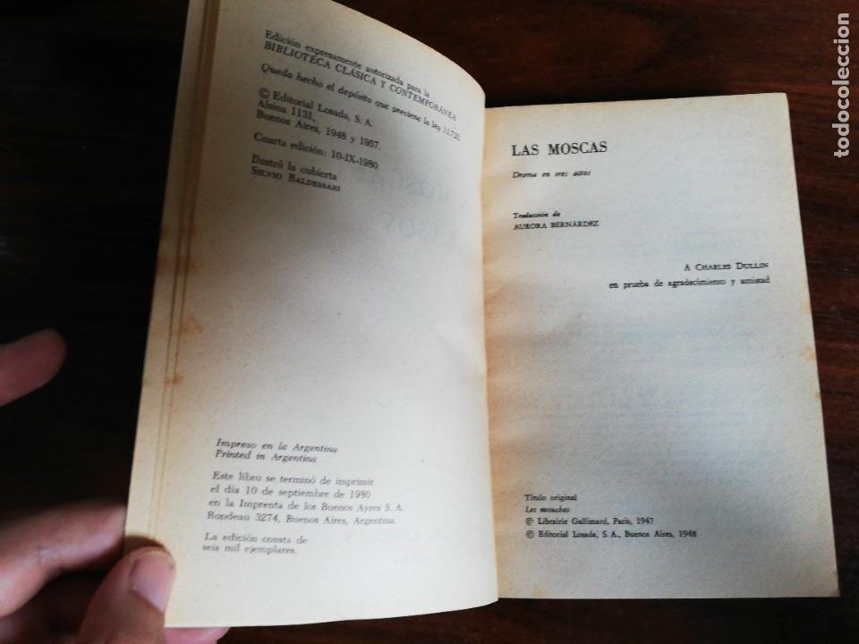 Libros de segunda mano: LAS MOSCAS. NEKRASOV. - JEAN PAUL SARTRE. EDIT. LOSADA. 1980 - Foto 4 - 218208965