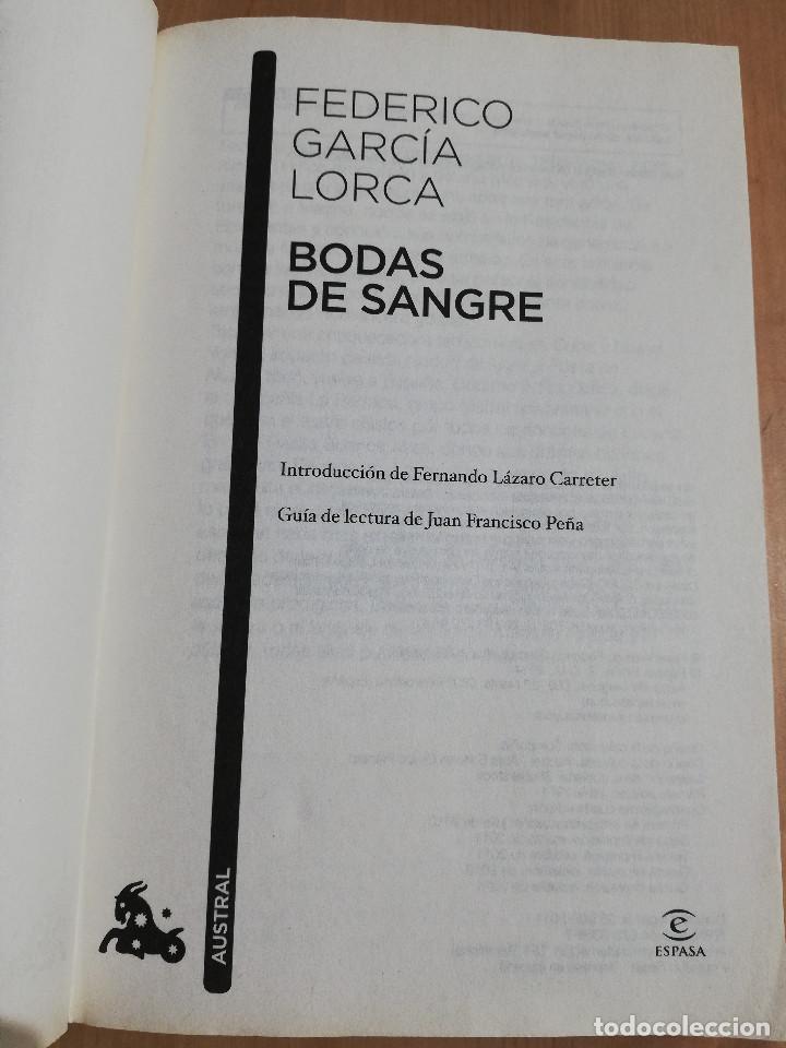 Libros de segunda mano: BODAS DE SANGRE (FEDERICO GARCÍA LORCA) - Foto 2 - 219336486
