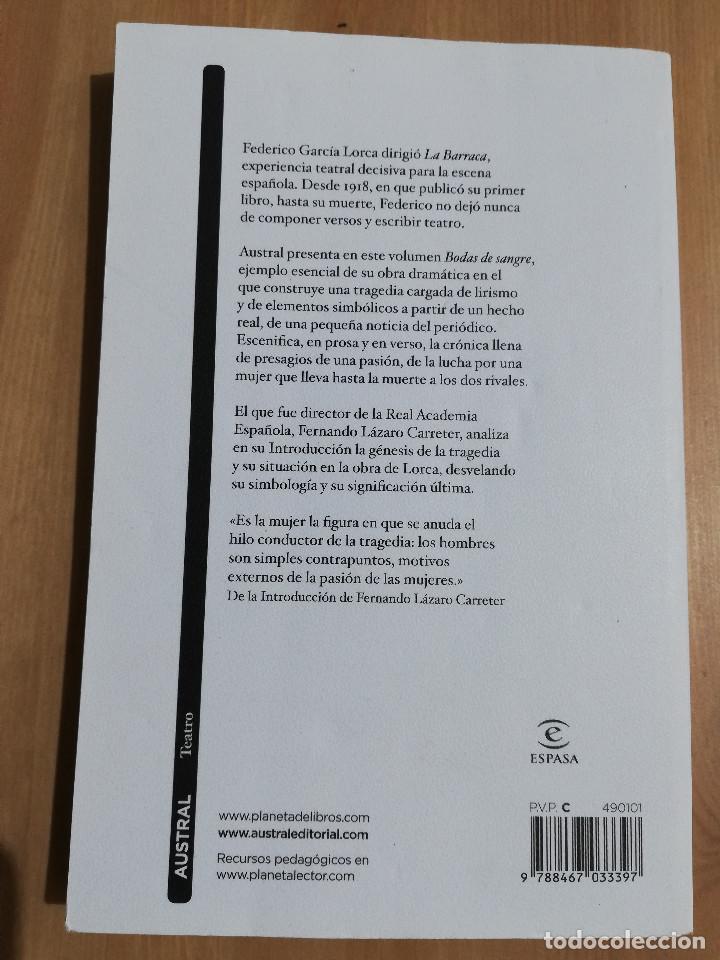 Libros de segunda mano: BODAS DE SANGRE (FEDERICO GARCÍA LORCA) - Foto 3 - 219336486