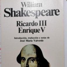 Libros de segunda mano: RICARDO III. ENRIQUE V. Lote 221645538